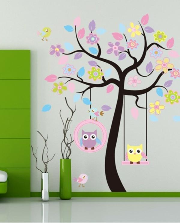 Wandaufkleber Selbst Gestalten Baum Mit Bunten Blättern   Deko Vasen