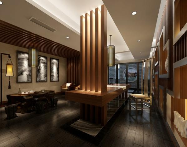 wanddeko-aus-holz-in-einer-luxuriösen-wohnung - moderne gestaltung