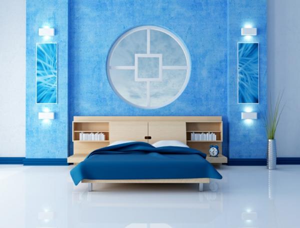 blaues schlafzimmer mit einem kreis an der wand als dekoration