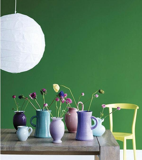 Wandfarbe Esszimmer Grüne Wand Tisch U2013 Kugelförmiger Kronleuchter