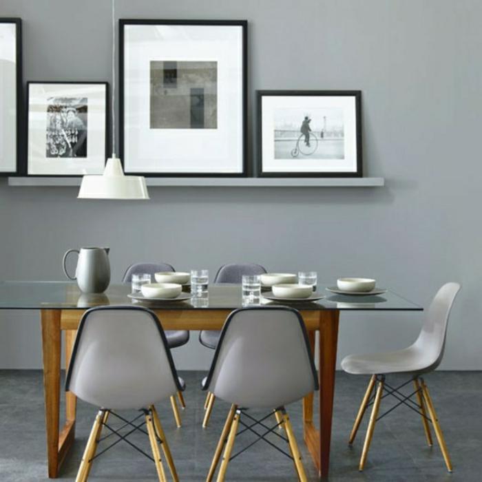 wandfarbe-grau-fürs-esszimmer-mit-schönen-stühlen