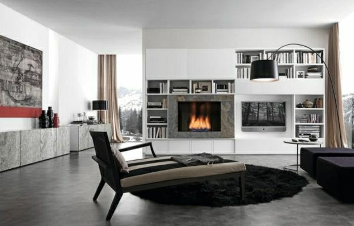 wandfarbe-grau-liegestuhl-kamin-modernes-wohnzimmer