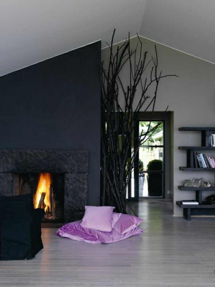 wandfarbe-grau-wohnzimmer-kamin