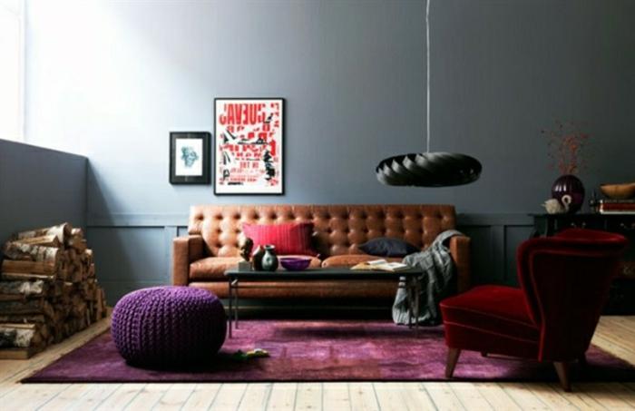wandfarbe-grautöne-wohnzimmer-gemütlich