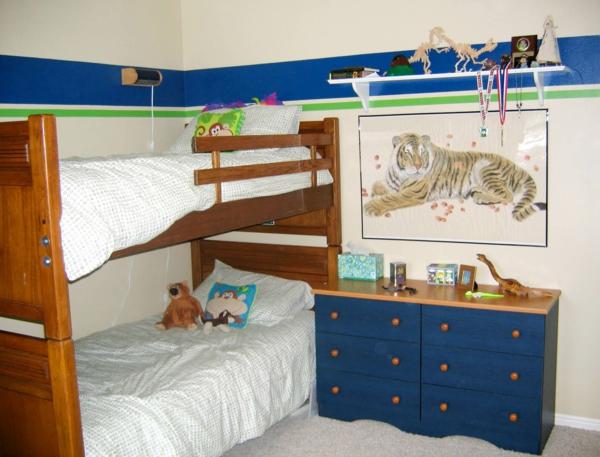 wandfarben-für-kinderzimmer-linien-blau-grün- bild von einem tiger