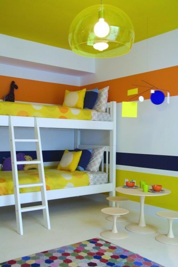 wandfarben-für-kinderzimmer-weiß-orange - moderner kronleuchter