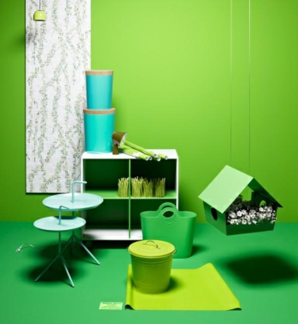 wandfarben-ideen-grüne-farbtöne - dekorative artikel