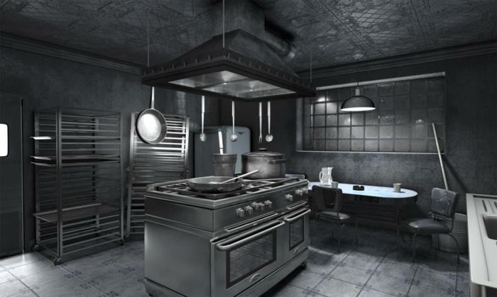 wandfarben-palette-wand-streichen-ideen-dunkel-graue-küche