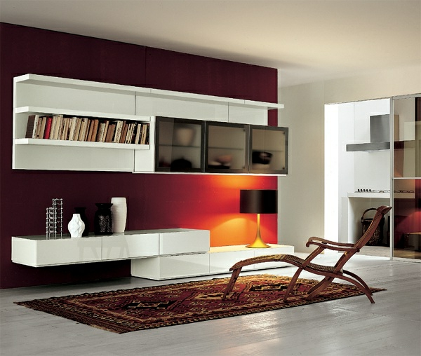 wandfarben-schöner-wohnen-weiße-möbel-orange-beleuchtung - schön