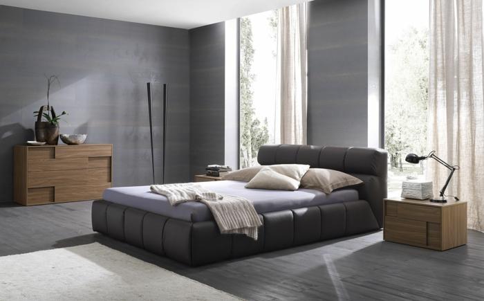 modernes schönes schlafzimmer zum wohnen in grau