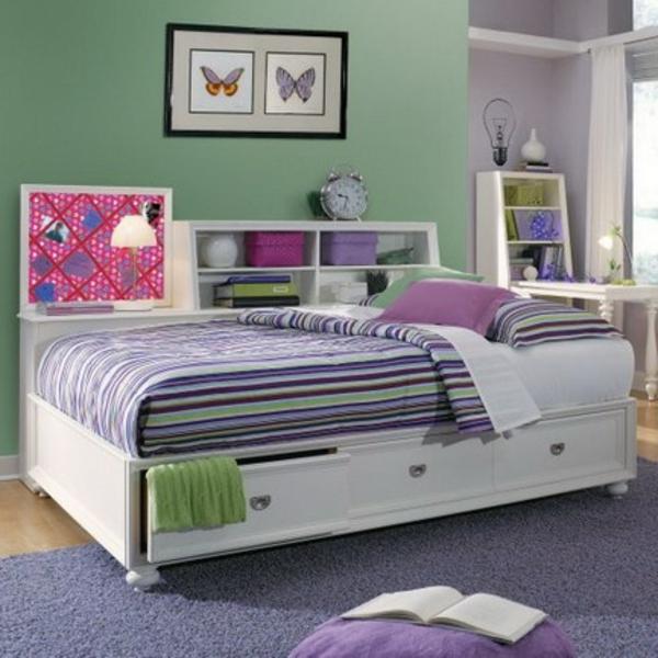 Wandgestaltung Für Kinderzimmer Schlichte Farbe  Grün Und Lila Kombinieren