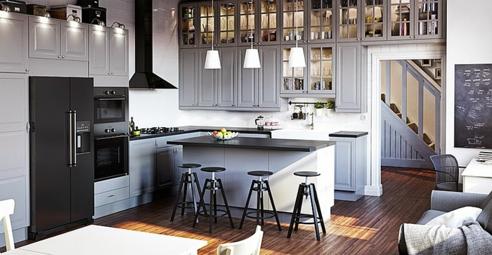 wandgestaltung-grau-in-einem-modernen-küche