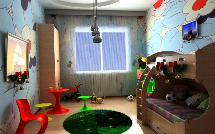 wandgestaltung-kinderzimmer-junge-vorhang-und-dekoration