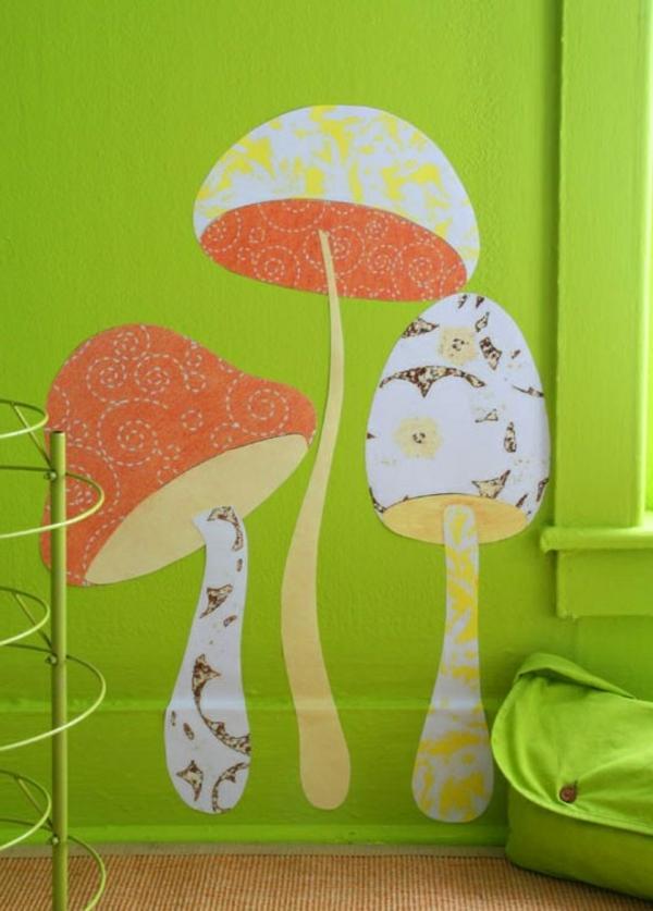 wandtatoo-pilze - moderne gestaltung für wände
