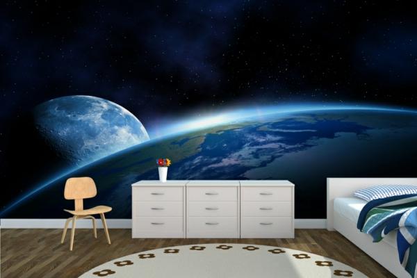 wandtatoo-schlafzimmer-moderne-gestaltung- kosmos