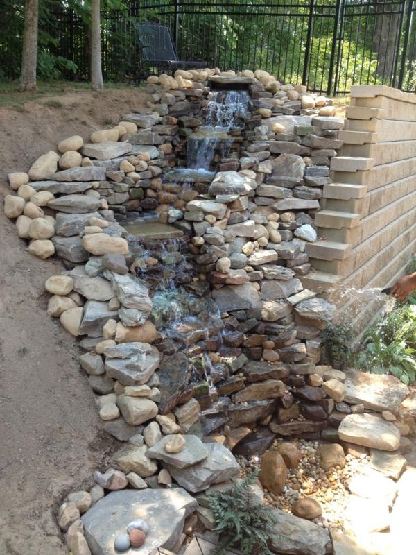 Perfekt Wasserfall Im Garten Aus Steinen Statt Wand Wasserfall Im Garten U2013 25  Wunderschöne Ideen | Gartengestaltung