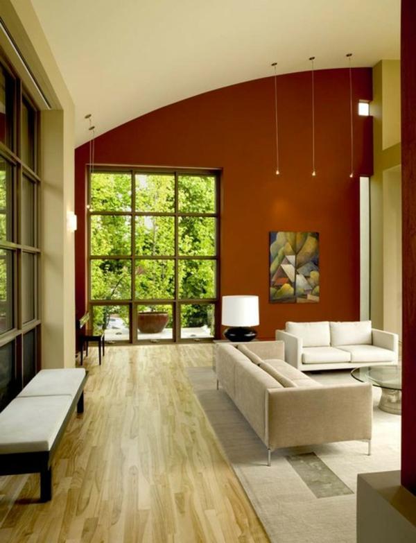 wirkung-von-farben-schönes-zimmer- nesttisch aus glas und zwei sofas