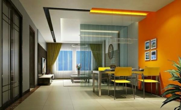 wohnzimmer-mit-orangen-wänden - interessant
