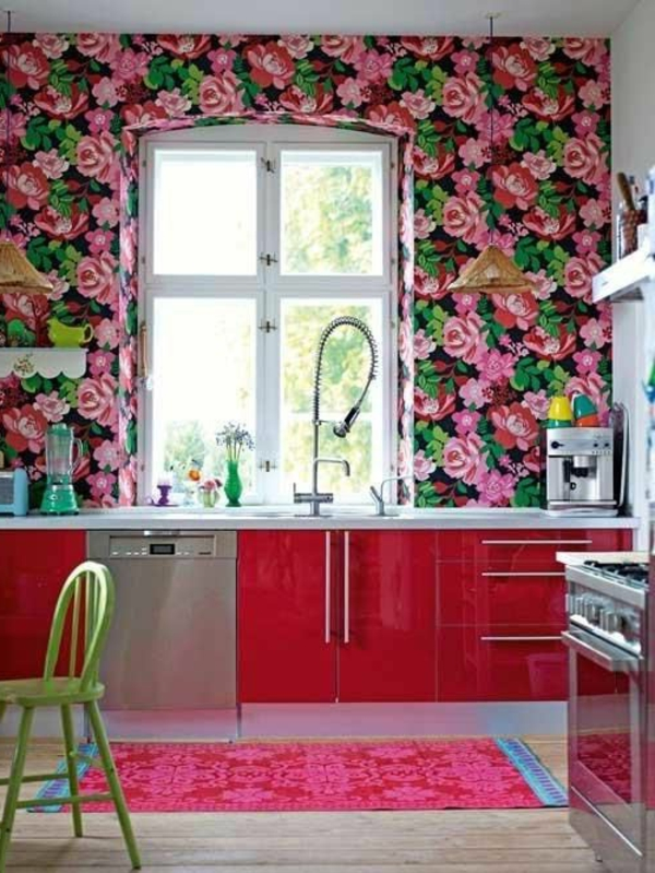 Kreative k chentapeten beispiele f r kreative hausfrauen - Wallpaper that looks like tile for kitchen backsplash ...