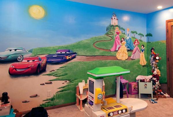 Wandgestaltung Cars Kinderzimmer - Wasserbett 2017