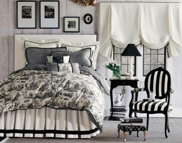 ausgefallene-bettwäsche-in-schwarz-und-weiß-gardinen in weiß