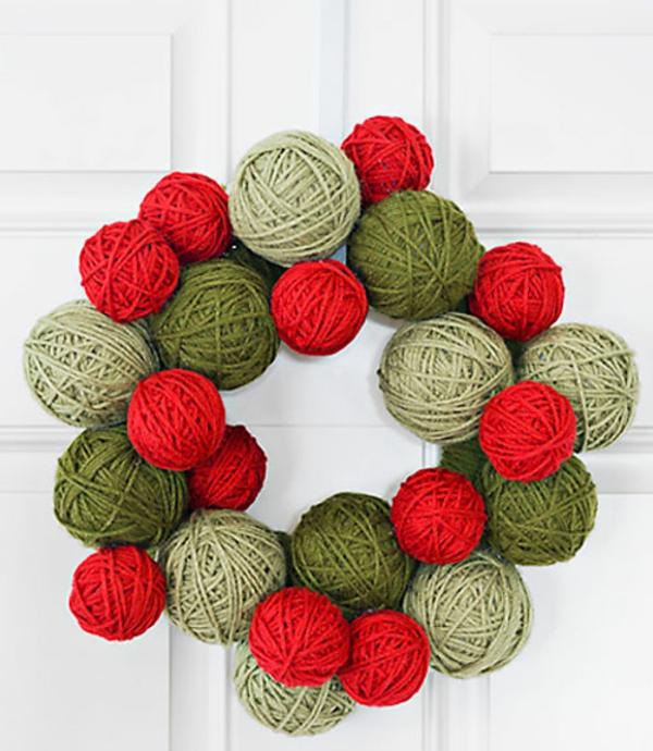 bastelideen-für-weihnachten-bunte knäueln