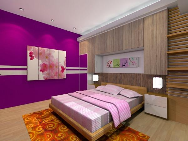 bett-und-ein-schönes-bett-an-der-wand-in-einem-lila-schlafzimmer-teppich in orange