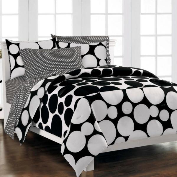 bettw sche in schwarz und wei 45 ideen. Black Bedroom Furniture Sets. Home Design Ideas