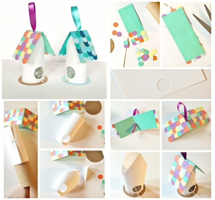 collage diy anleitung vogelhäuschen aus papierhülse basteln schritt für schritt