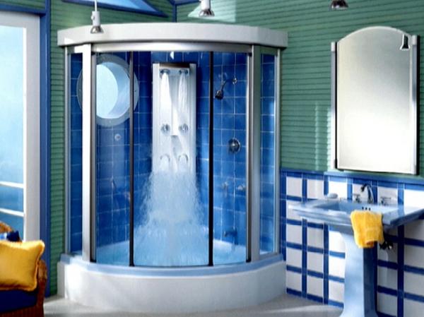 dampfduschkabine-ultramodern-- interessante fliesen und ein runder spiegel direkt in der duschkabine