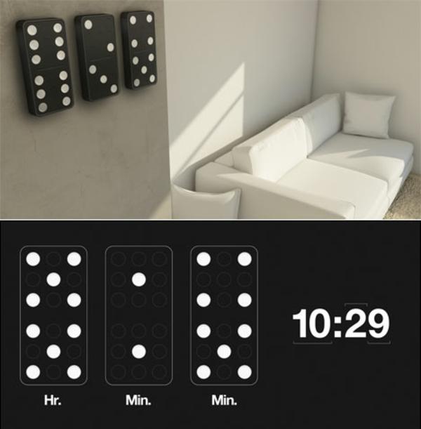 deko-vorschläge-domino-uhr-originell