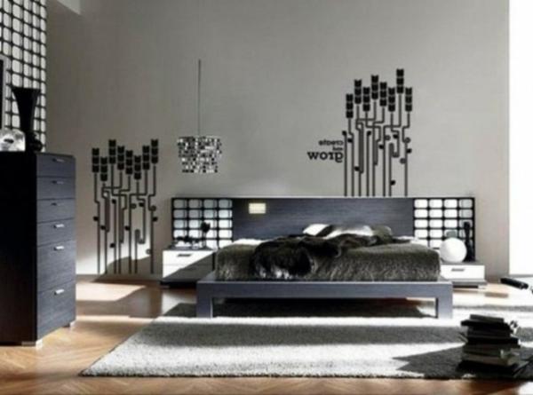dekoideen-für-schlafzimmer-männliches-design- graues-bett
