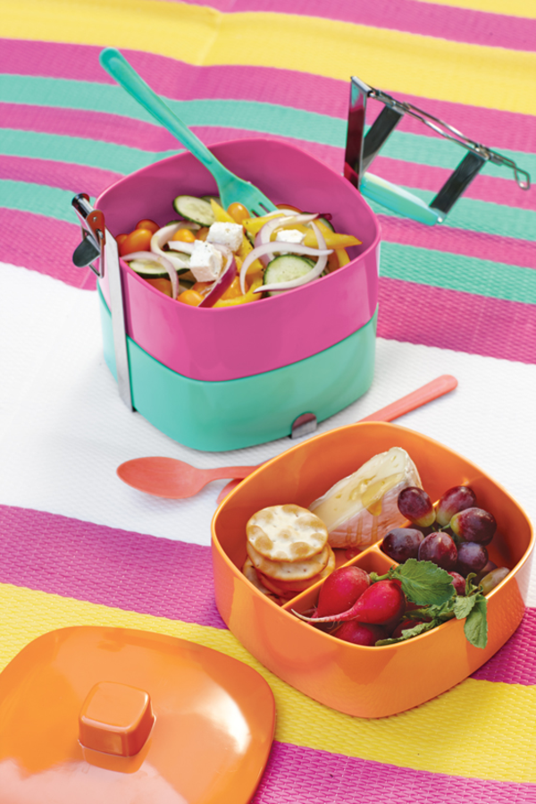 den-picknick-koffer-packen-bunte-sachen zum essen auf der decke