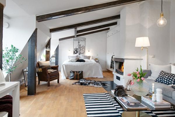 einraumwohnung-einrichten-Swedisch-Apartment