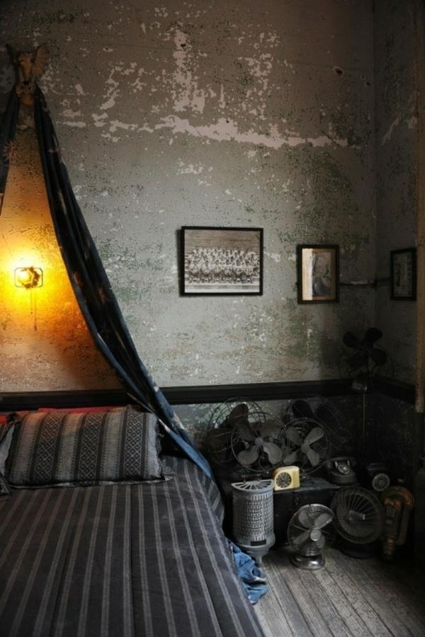 einrichtungsidee-für-männliches-schlafzimmer- interessante wandgestaltung