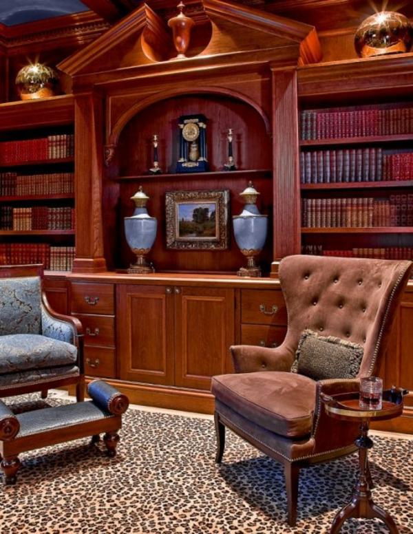 eleganten-Holz-Sessel-Hocker- Haus – Bibliothek