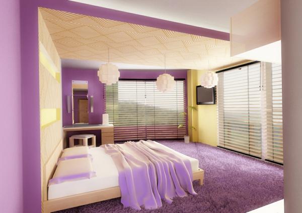 elegantes-lila-schlafzimmer-bett-große-fenster-originelle lüster