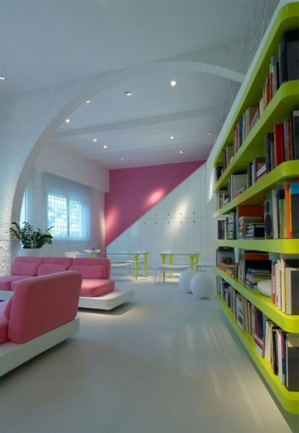 extravagante-wohnideen-fürs-wohnzimmer-auffällige farbkombination