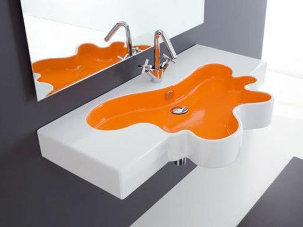 farbe-orange-badezimmer-wasserbecken