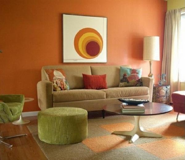Wohnzimmer Grün Orange