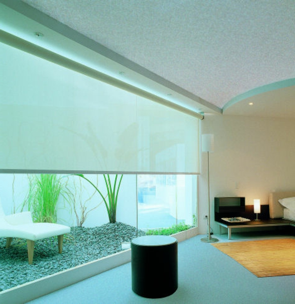 fenster-schaulusie- moderne schlafzimmer gestaltung-moderne jalousien