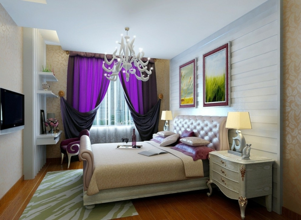 gardinen-in-lila-farbe-sehr-elegante-gestaltung-weißer kronleuchter