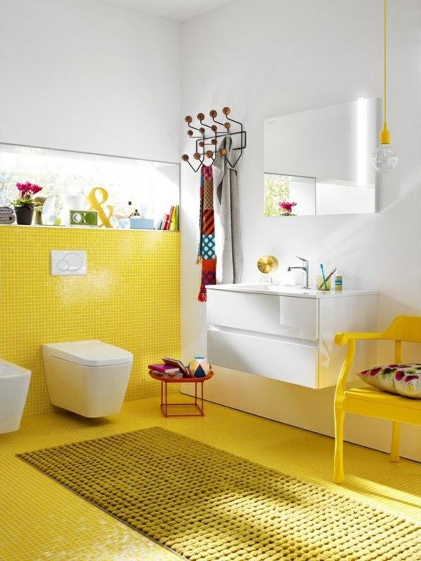 Welche farbe passt zu gelben fliesen ostseesuche com - Wandfarbe leuchtend ...