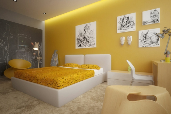 gelbe-farbtöne-modern-yellow-bedroom