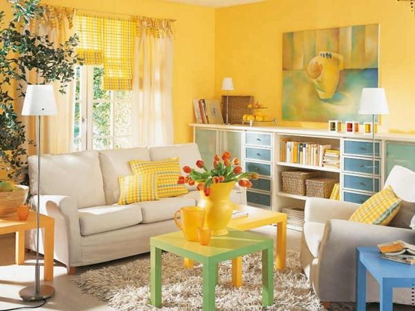 gelbe-farbtöne-yellow-color-living-room-furniture-trends-interior-decorating-ideas