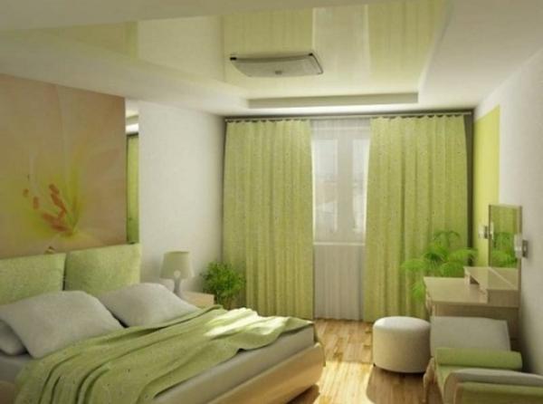 grüne-schlafzimmergardinen-bequemes bett mit kissen