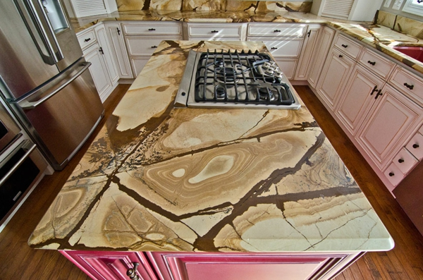 holz-stein-arbeitsplatte-für-die-küche-sehr extravaganter look