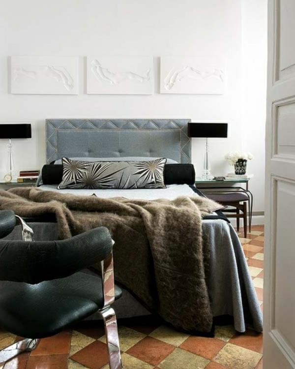 interessante-wandgestaltung-fürs-schlafzimmer-männliches-design-drei weiße bilder