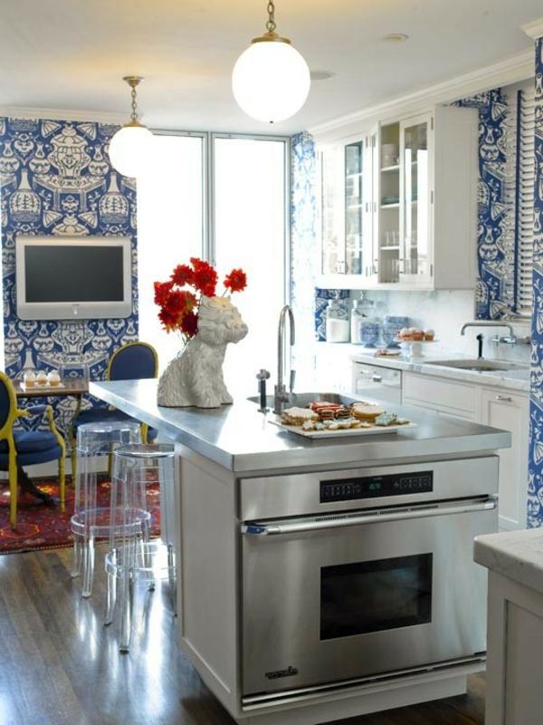 Anregungen blaue küchentapeten blaue küchentapeten