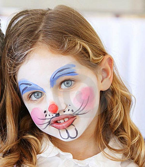 kinderschminke-vorlage-mädchen-wie-einen-hasen- süßes aussehen